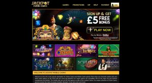 Jackpot Mobile Casino Homepage